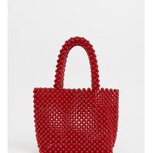 New Look - Kleine Tragetasche mit Perlen in Rot - Rot