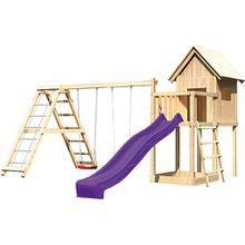 Spielturm Frieda mit Anbau, Satteldach, Gerüst, Doppelschaukel und Rutsche violett