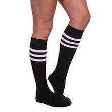 Schwarz-Weiss Damen Maedchen Fussball Stutzen SportSocken Sport Socken Strumpf Stutzenstruempfe Fussballstutzen Sportstruempfe