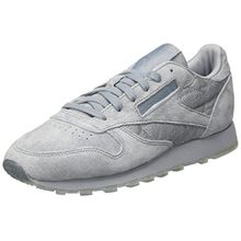 Reebok Damen Classic Leather Lace Sneaker, Grau (Meteor Grey/White), 40 EU