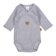 Steiff Unisex - Baby Body 1/1 Arm, Gestreift, Gr. 56, Grau (Light Gray Melange Gray 8100)