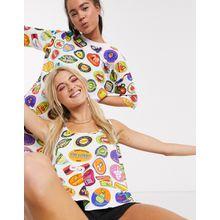 Love Moschino – Trägershirt mit Sticker-Print-Weiß