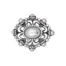 J.Jayz Brosche »metallfarbene Ornamentik«, mit Glassteinen und Kunststoffperlen