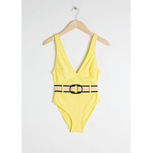 Belted High Cut Swimsuit - Yellow