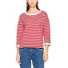 Hilfiger Denim Damen Pullover Thdw Stripe BN Hknit 3/4 Slv 17, Weiß (Snow White/Lipstick Red 901), Medium