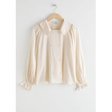 Double Breasted Jacquard Blouse - White