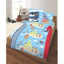 Kinderbettwäsche Pirateninsel, Biber, 135 x 200 cm blau