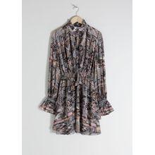 Southwest Print Ruffled Mini Dress - Grey