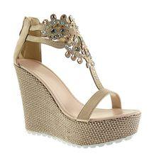 Angkorly Damen Schuhe Sandalen - T-Spange - Plateauschuhe - Schmuck - Bestickt Keilabsatz High Heel 13 cm - Rosa 168-1 T 38