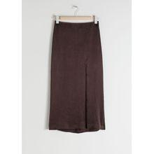 Side Slit Midi Skirt - Brown