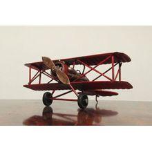 Nostalgie Blech Doppeldecker Flugzeug Rot kleines Modell