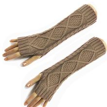 HITOP Damen Accessory Trendige Quilted Thread gestrickte fingerlose Armstulpen Feinstrick lang Pulswärmer Handwärmer Stulpen (khaki)