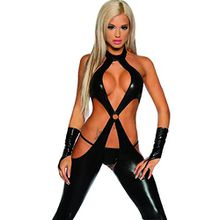 iEFiEL CATSUIT DAMEN DOMINA JUMPSUIT Leder OPTIK OVERLL BODYSUIT