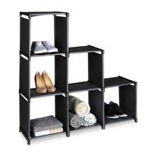 Steck-Regal & Raumteiler mit 6 Fächern schwarz