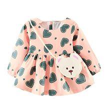 ZIYOU Kleider Niedlich Baby Mädchen Drucken Prinzessin Dress + Kleine Tasche (18M, Rosa)