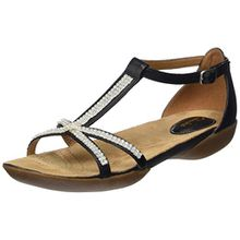Clarks Raffi Star, Damen T-Spangen Sandalen, Schwarz (Black Leather), 42 EU (8 Damen UK)