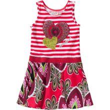 Desigual Jerseykleid 'Herz' mischfarben / rot / weiß