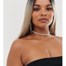 ASOS DESIGN Curve – 2er-Pack eng anliegende Cupchain-Halsketten in Schwarz und Weiß-Mehrfarbig