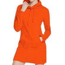 Elsa Steen - Damen Kapuzen Sweatshirt Kleid mit Känguru Taschen , M, Orange