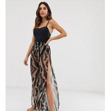 Glamorous - Exklusive Strandhose mit mehrfarbigem Safari-Print - Mehrfarbig