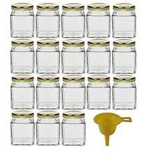 Viva Haushaltswaren 18 x kleines Marmeladenglas/Gewürzglas 106 ml mit goldfarbenem Schraubverschluss, Gläser Set mit Deckel als Einmachgläser, Vorratsdose etc. verwendbar (inkl. Trichter)