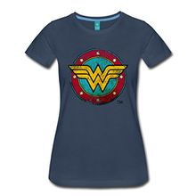 Spreadshirt DC Comics Wonder Woman Logo Used Look Frauen T-Shirt, L, Navy