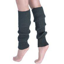A&Z; Super Warme Damen Frauen Beinstulpen Stricken Stiefel Manschetten Socken Leg Knit Stulpen Warmers Socks Cuffs Knie 10 Farben (Dunkelgrau)