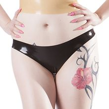 Rubberfashion Latex String, Latexstring Tanga Slip mit veredelter Oberfläche nicht chloriert für Frauen und Herren Menge: 1 Stück schwarz L