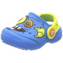 crocs Fun Lab Clog Kids, Unisex - Kinder Clogs, Blau (Ocean/Tennis Ball Green), 24/25 EU