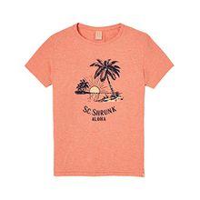 Scotch & Soda Shrunk Jungen T-Shirt Tee in NEP Quality with Artwork, Rosa (Sombrero Melange 2075), 176 (Herstellergröße: 16)