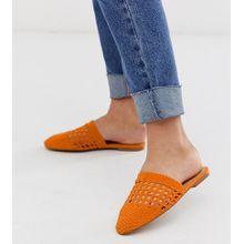 ASOS DESIGN Wide Fit - Motto - Pantoletten mit Webdesign, in Orange - Orange