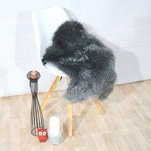 Fell Teppich Schaffell Lammfell Imitat Kunstfell Dekofell MIA bei 30 Grad waschbar aus 100% Polyester (055 x 080 cm Fell, dunkel grau 041)