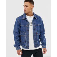 Levi's – Jeans-Truckerjacke mit aufgesetzten Taschen in mittlerer Gearbox-Waschung-Blau