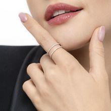Ring Double mit Diamanten, 18K Weißgold
