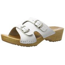Holzpantoletten für Damen Clogs Schuhe mit Absatz Holz Sandalette Leder Clogs Pantolette (40, Weiß)