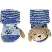 Sterntaler Baby-Jungen Socken Rasselsöckchen Hund, Blau (Bleu 313), 16 (Herstellergröße: 15/16)