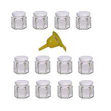 Viva Haushaltswaren 12 x Mini Einmachglas 47 ml mit weißem Deckel, sechseckige Glasdosen als Marmeladengläser, Gewürzdosen, Gastgeschenk etc. verwendbar (inkl. Trichter Ø 12,3 cm)