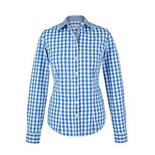 Damen Almsach Trachten-Bluse blau-weiß kariert 'Maria', blau, 48