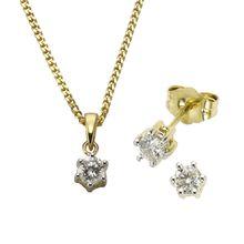 Diamonds by Ellen K. Set Ohrstecker Anhänger mit Kette 585/- Gold Brillant 0,50ct. gelb Damen