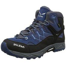 Salewa Unisex-Kinder JR Alp Trainer Mid GTX Trekking-& Wanderstiefel, Blau (Dark Denim/Charcoal 0365), 34 EU