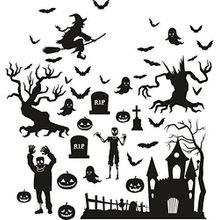 Halloween Grusel Hexe Grabstein Fledermaus Fensterdeko Wandtattoo Fensterdekoration Friedhof Kürbis Geist
