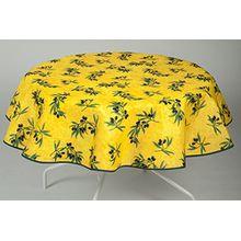 Tischdecke, rund, Ø 160cm, fleckenresistent–Oliven-Motive–Gelb