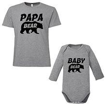 ShirtWorld Papa Bear Baby Bear - Vater Kind Geschenkset Melange Grey M-00-02