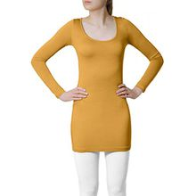 CASPAR SRT012 Damen Basic Longshirt, Farbe:ocker;Größe:S/M