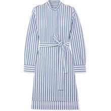Acne Studios - Gestreiftes Kleid Aus Baumwollpopeline Mit Gürtel - Blau