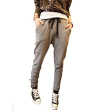 Minetom Damen Jogging & Harem Hose With Elastic Solid Color Haremshose Yoga Slacks Sporttanz Tropfen (Dunkelgrau EU M)