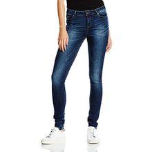 VERO MODA Damen Skinny Jeanshose VMSEVEN NW S. S EYE VI JEANS GU965 NOOS, Blau (Dark Blue Denim), Gr. W26/L32 (Herstellergröße: 26)