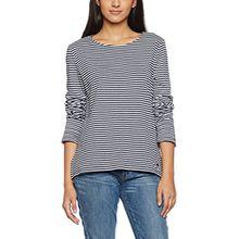 TOM TAILOR Damen Sweatshirt Lovely Striped Sweater, Blau (Real Navy Blue 6593), 36 (Herstellergröße: S)