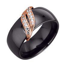 Jacques Lemans Ring 925/- Sterling Silber rotvergoldet mit Keramik und Zirkonia schwarz Damen