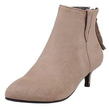 AIYOUMEI Damen Spitz Ankle Boots Kleiner Absatz Stiefeletten mit 5cm Absatz Schuhe Reißverschluss Klassischer Stiefel